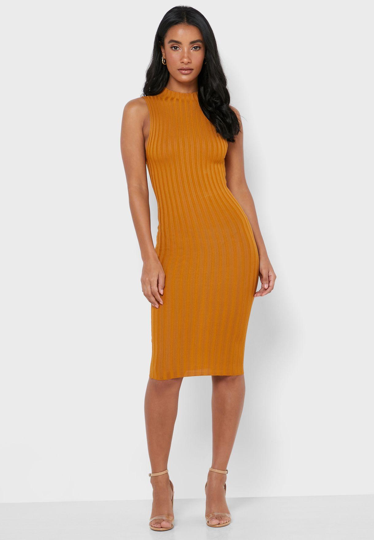 Mock Neck Ribbed Dress