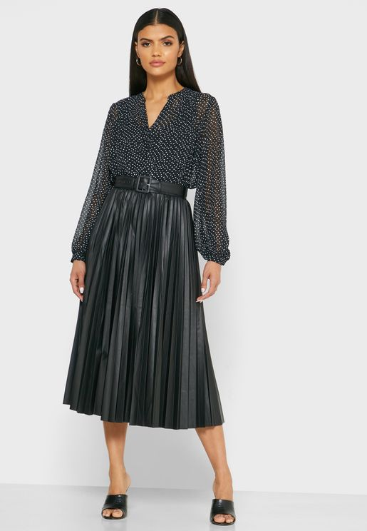 Belted Pleated Maxi Skirt