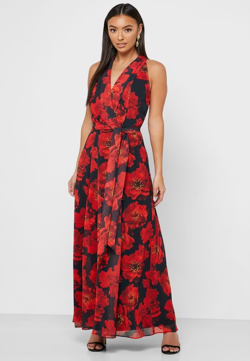 Halter Neck Floral Print Side Tie Dress
