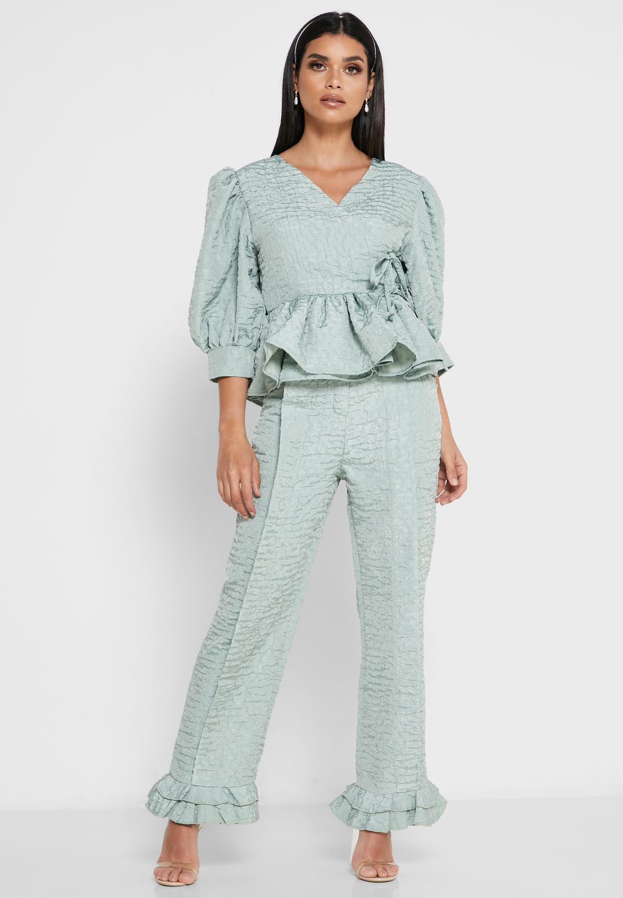 High Waist Ruffle Detail Pants