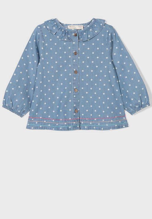 Infant Ruffle Detail Star Printed Shirt
