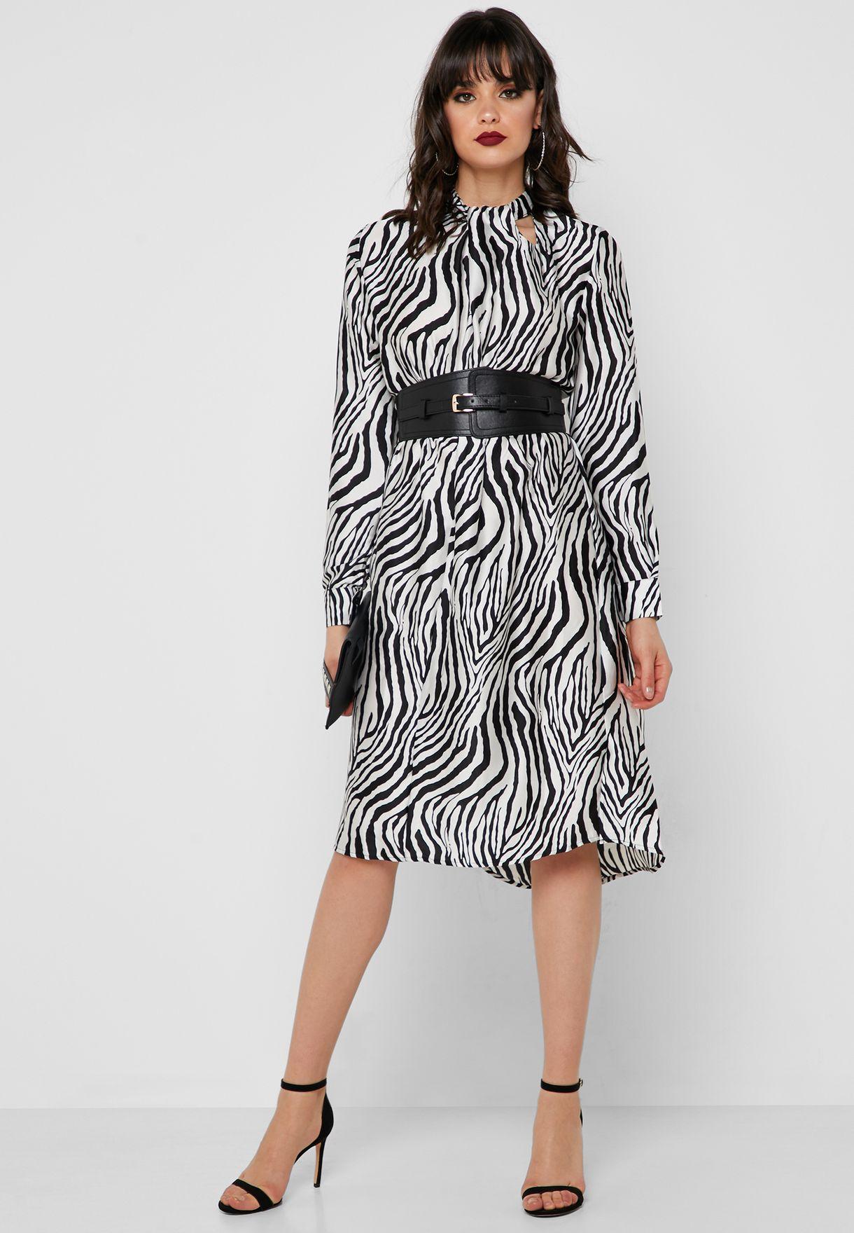 73ed3ce6301 Shop Own The Looks animalprint Belted Zebra Print Dress 128C for ...