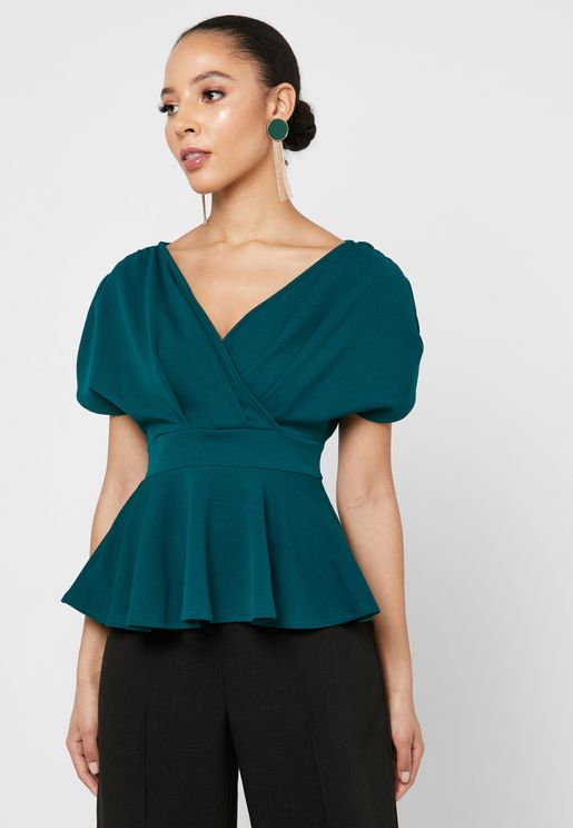 Ruched Sleeve Peplum Top