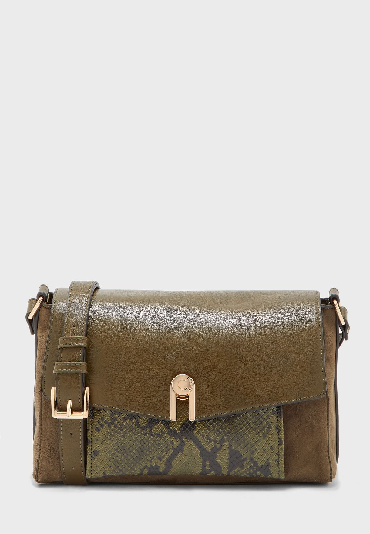 Flap Closure Belted Crossbody