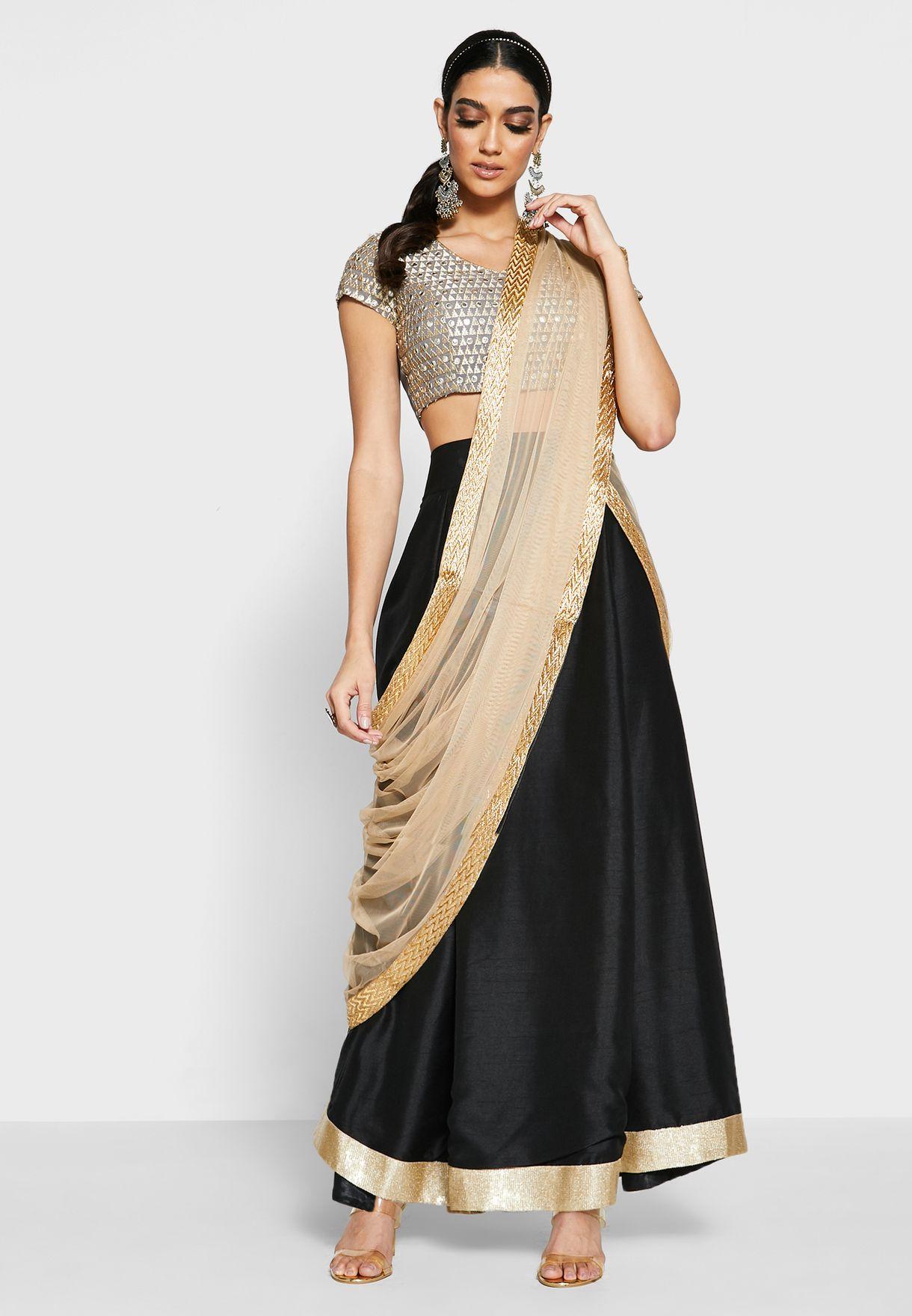 Sequin Border Silk Maxi Skirt - Black