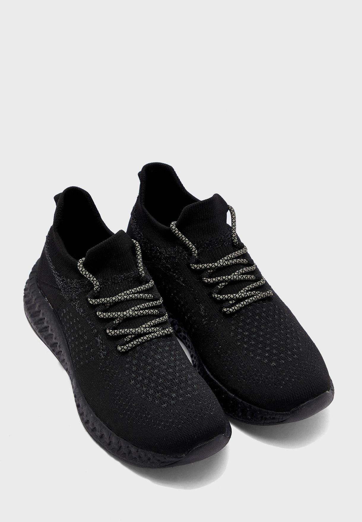 Knitted Mid Top Sneakers