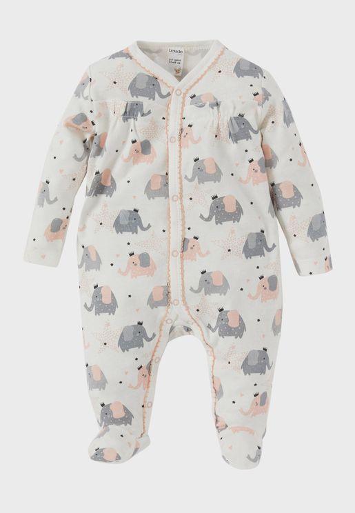 Infant Elephant Print Romper