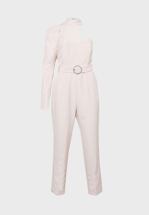 High Neck One Sleeve Jumpsuit