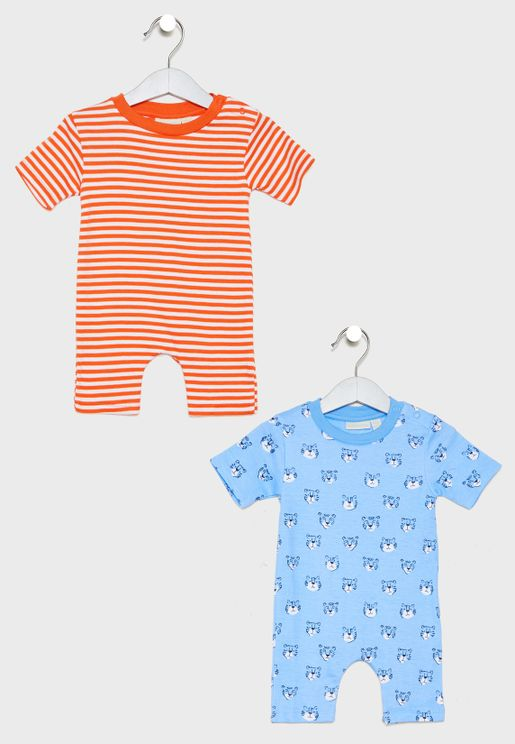 Infant 2 Pack Tiger Rompers