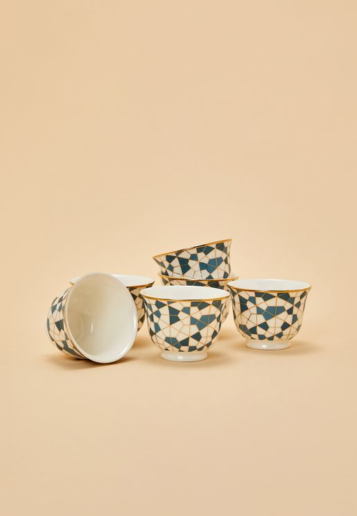 Set of 6 Chaffe Cups - Geo Blue