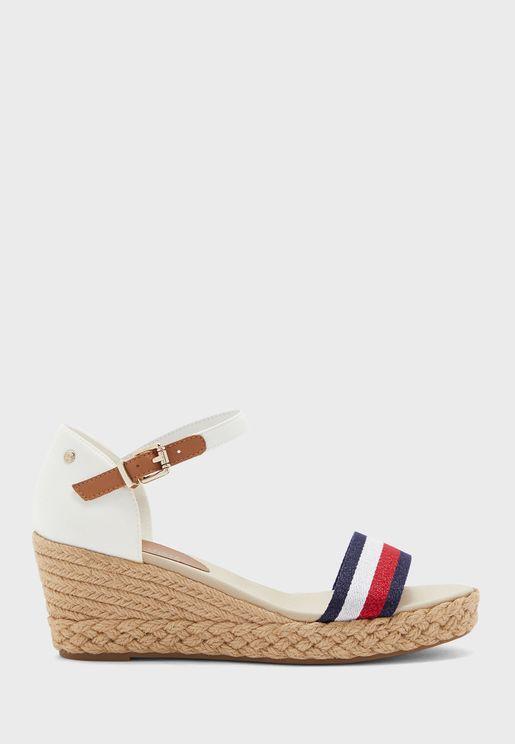 Shimmery Ribbon Wedge Sandal