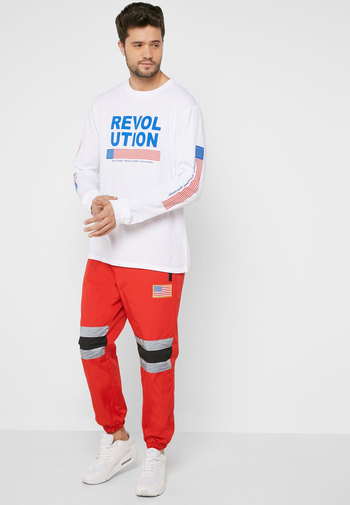 acb715921b7fb Shop Forever 21 red NASA Patch Graphic Joggers 323598 for Men in ...
