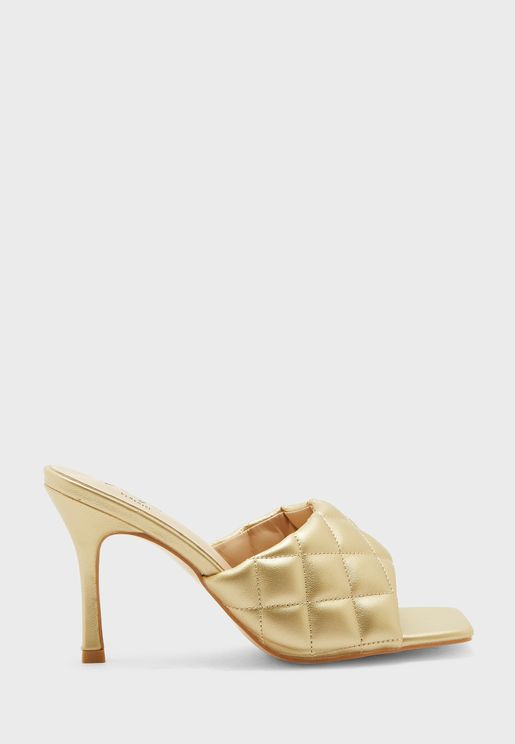 Quilted Square Toe Sandal
