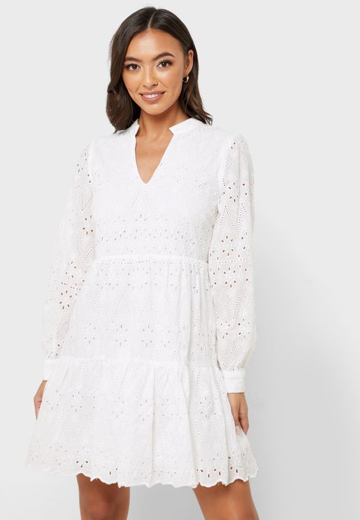 High Neck Broderie Dress