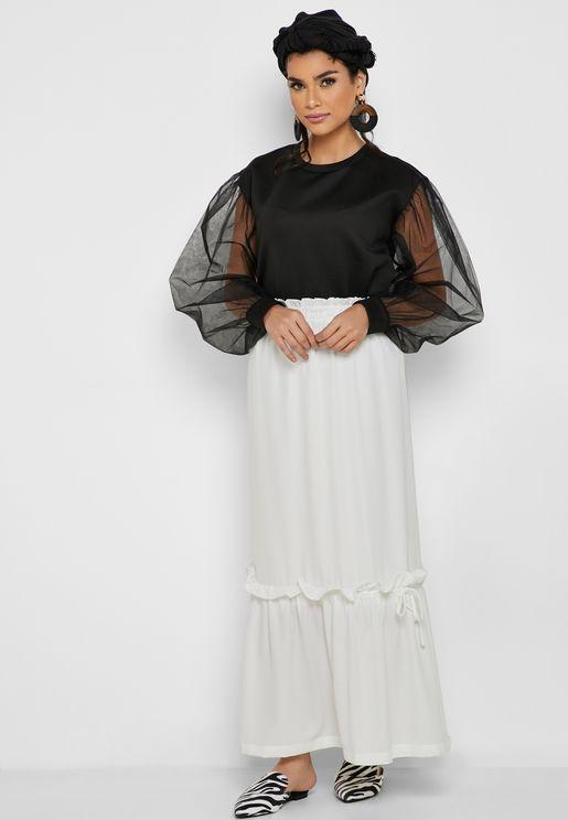Frill Detail Maxi Skirt