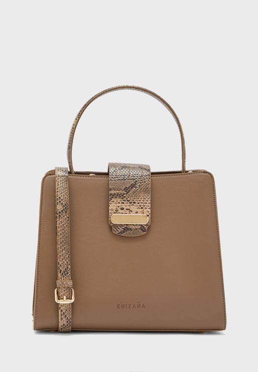 Top Handle Satchel With Snake Detail