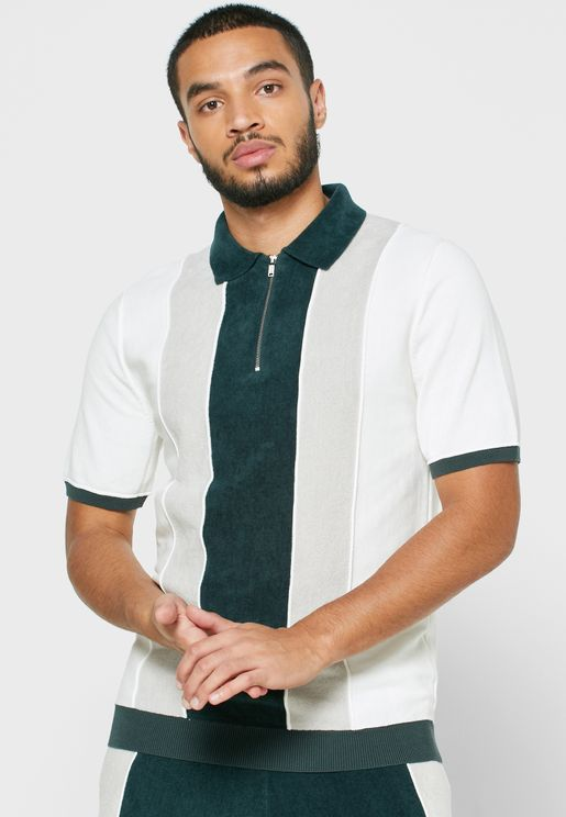Color Block Half Zip Knitted Polo