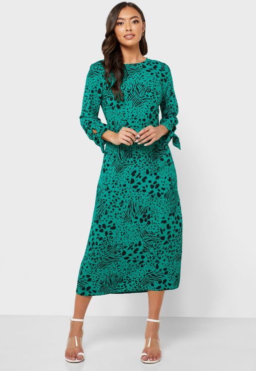 Tie Sleeve Animal Print Dress