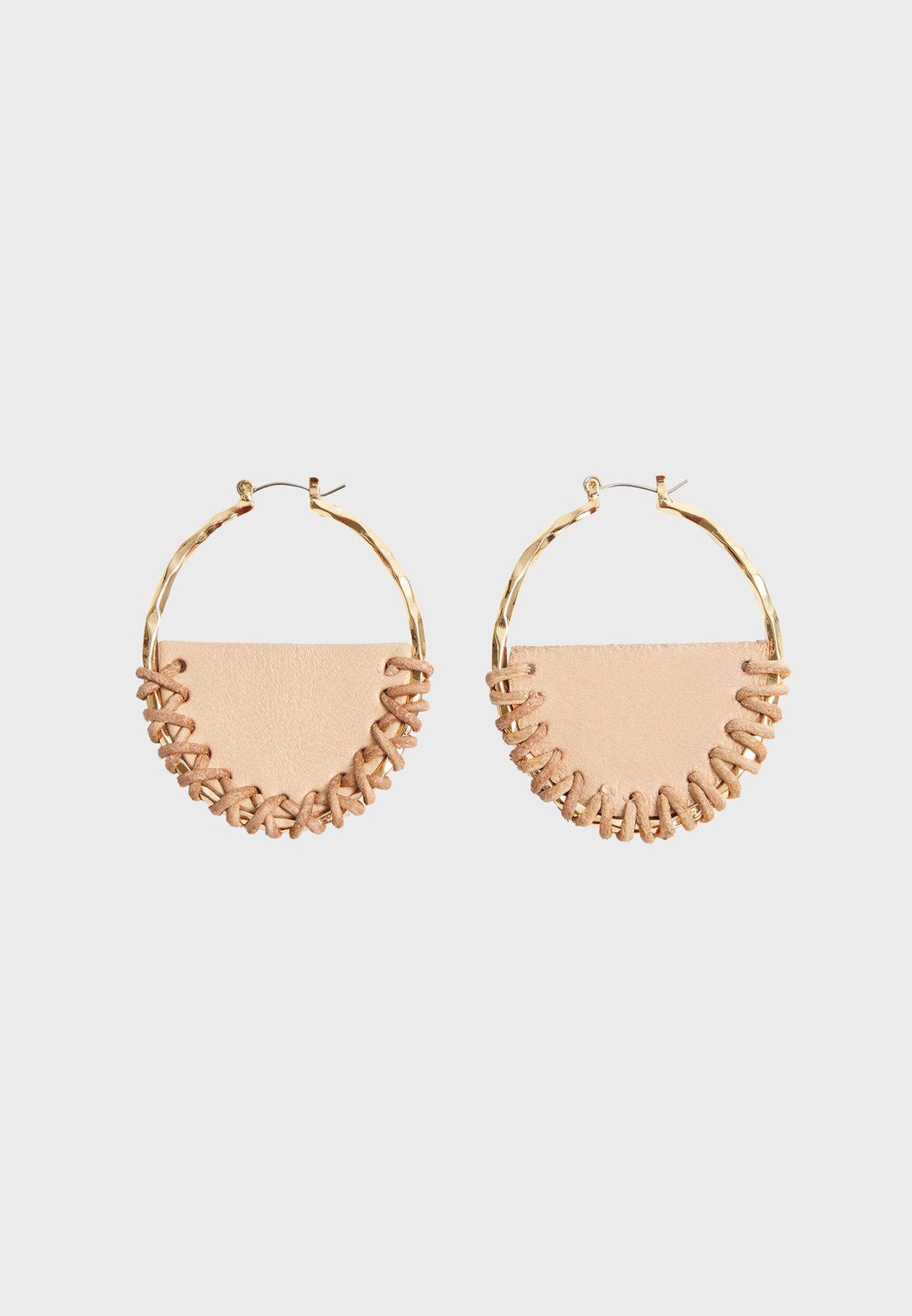Sansa Handmade Leather Hoop Earrings