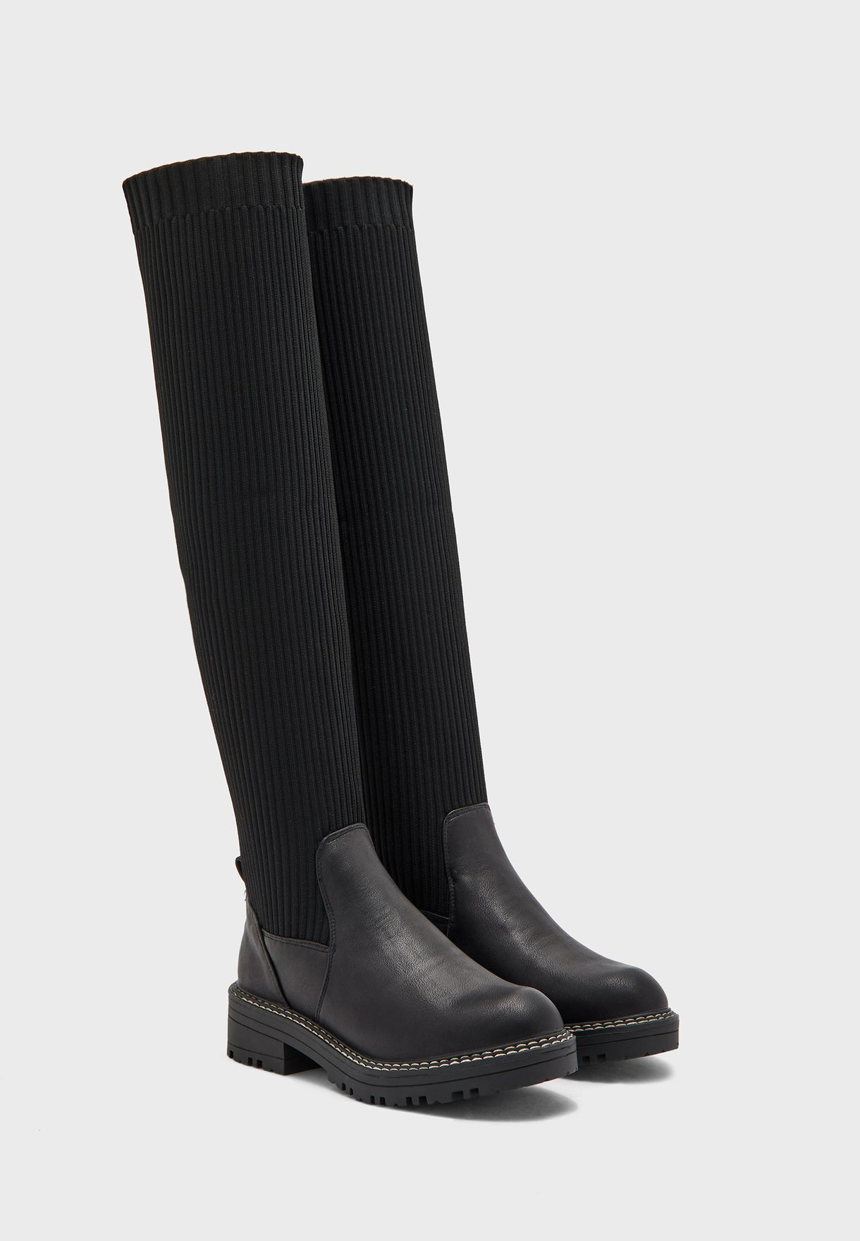Wf Queeno Knitted High Leg Chunky Boot