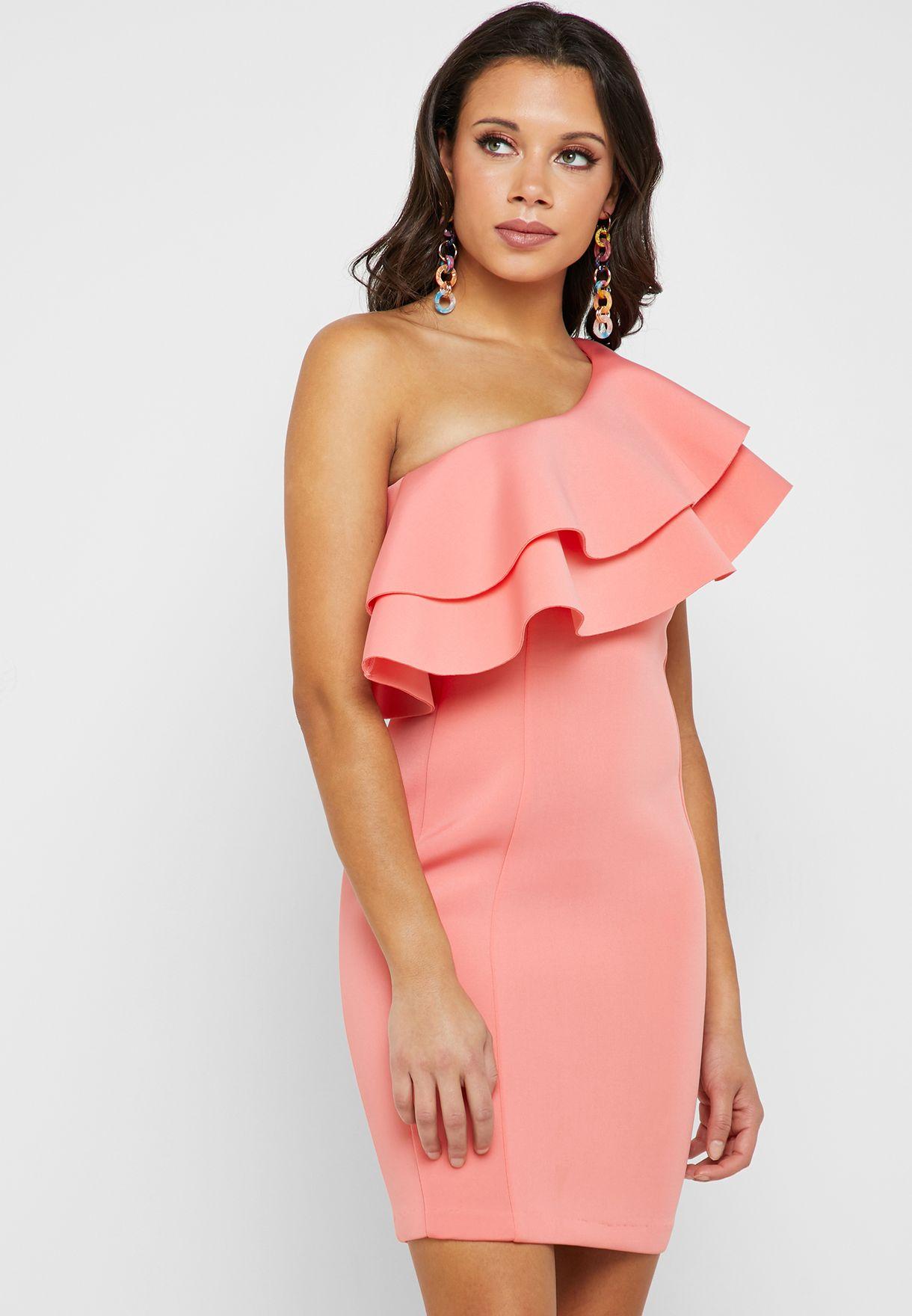 فستان بكتف واحد و بكشكش