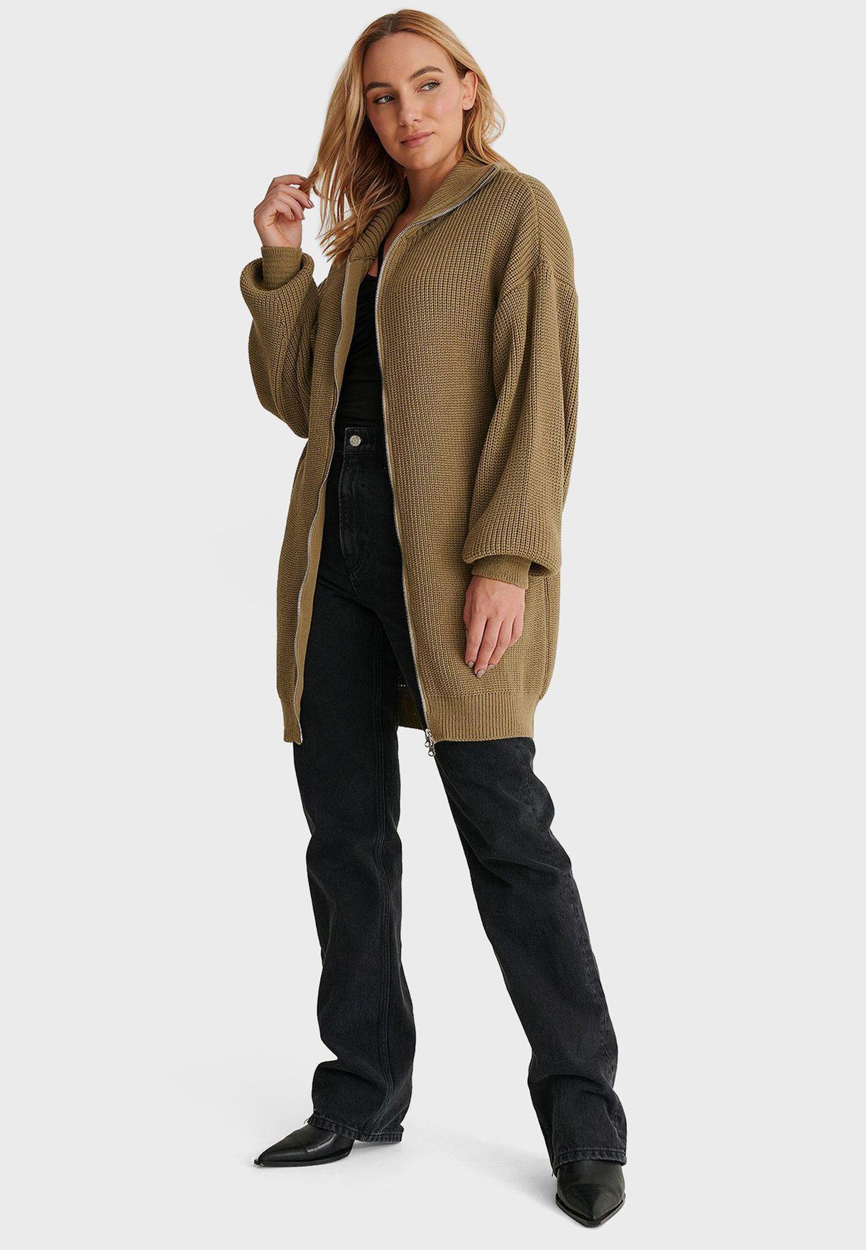 Oversized Zip Detail Cardigan
