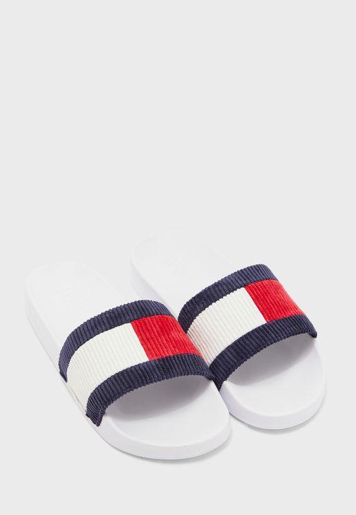 Corduroy Flat Sandal
