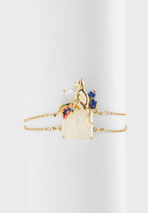 Egyptian Cat on Stone and Flowers Bracelet