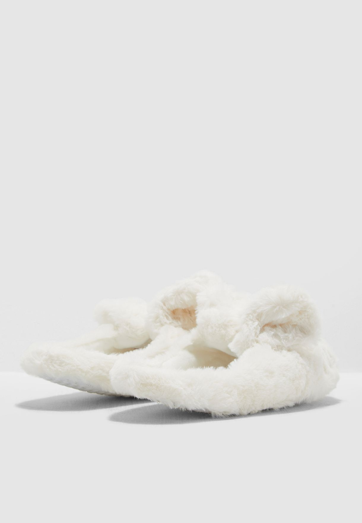 Plush Rabbit Mule Slippers