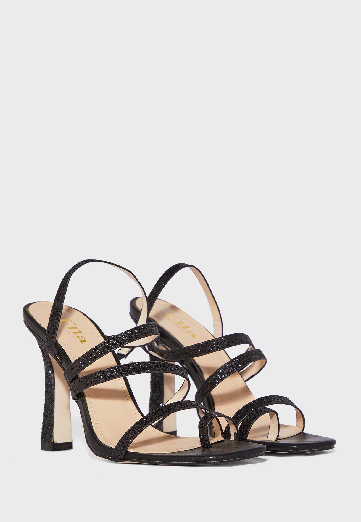 Multi-Strap Glitter Flared Heel Sandal