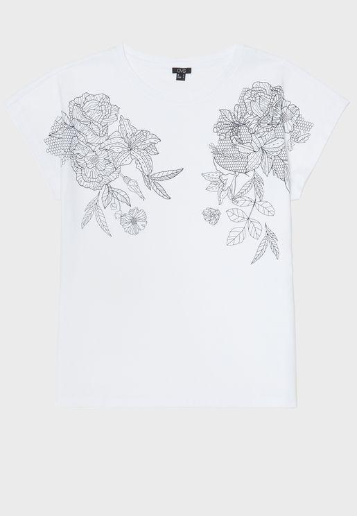 تيشيرت بطباعة زهور