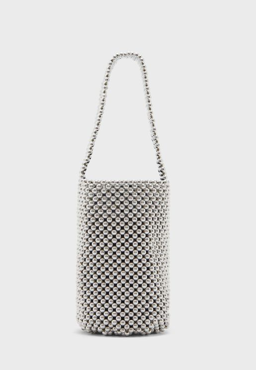 Metallic Beaded Bucket Hobo
