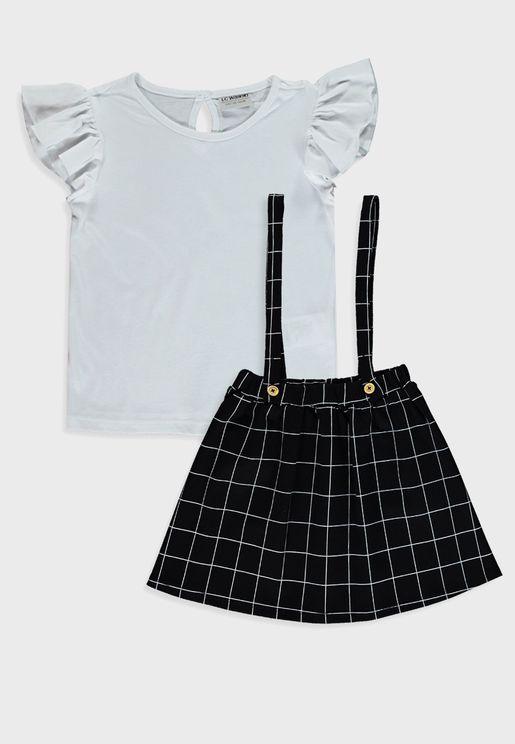 Kids Casual Top + Skirt Set