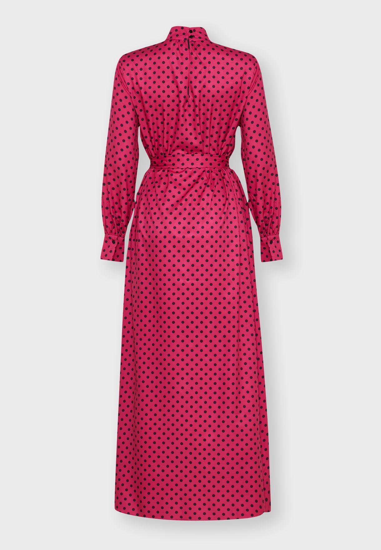 Polka Dot Tie Front Maxi Dress