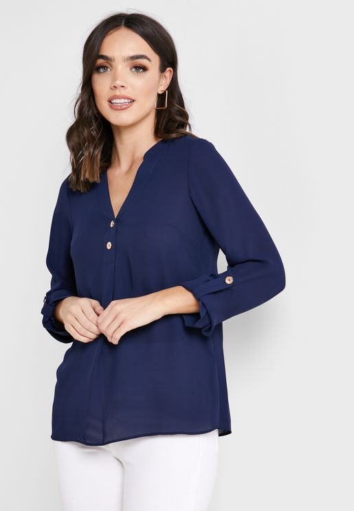 Button Detail Roll Sleeve Top