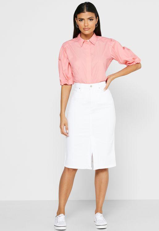 Button Detail Pencil Skirt