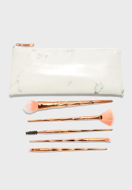5 Pack  Cosmetic Brush With Marble Bag