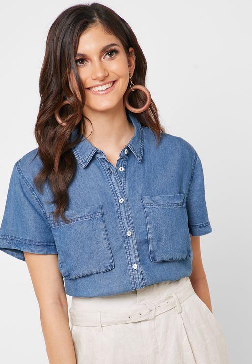 Cropped Pocket Detail Denim Shirt
