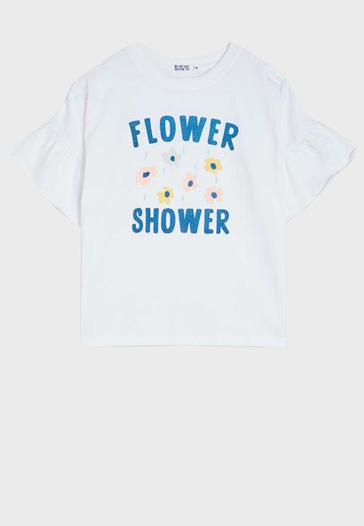 Kids Flower Print Ruffle Sleeve Top