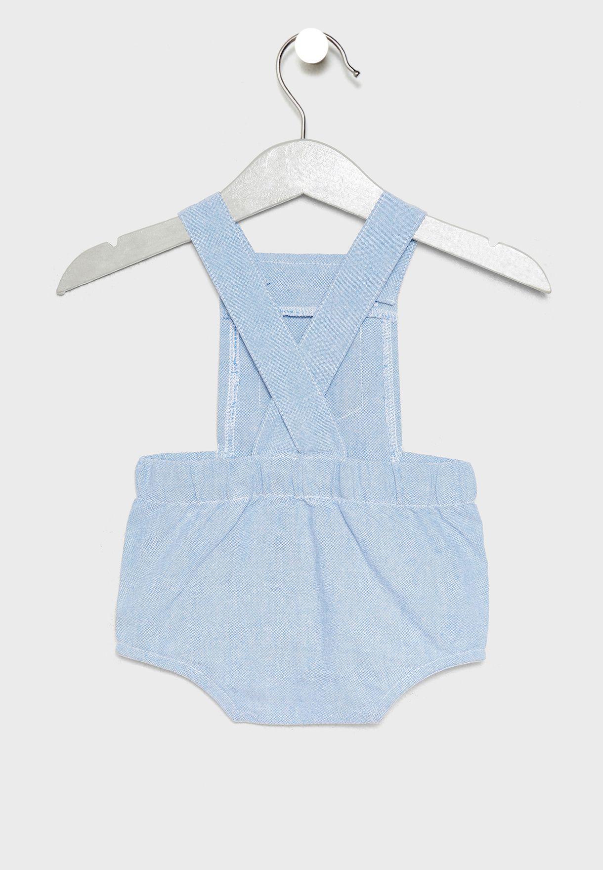 Infant T-Shirt + Bear Applique Dungaree + Socks Set