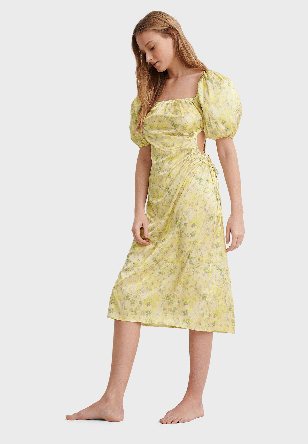 Puff Sleeves Cut Out Midi Dress