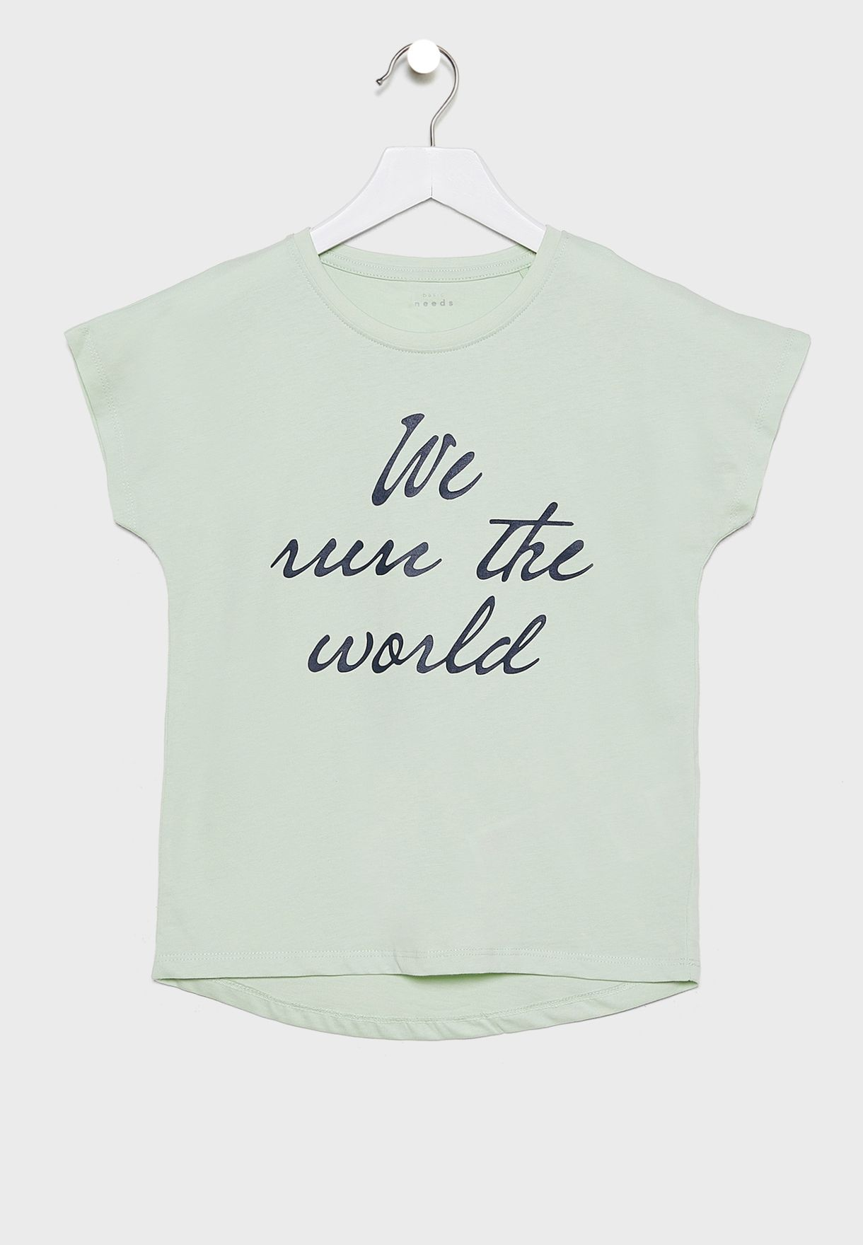 Kids Slogan T-Shirt + Skirt Set