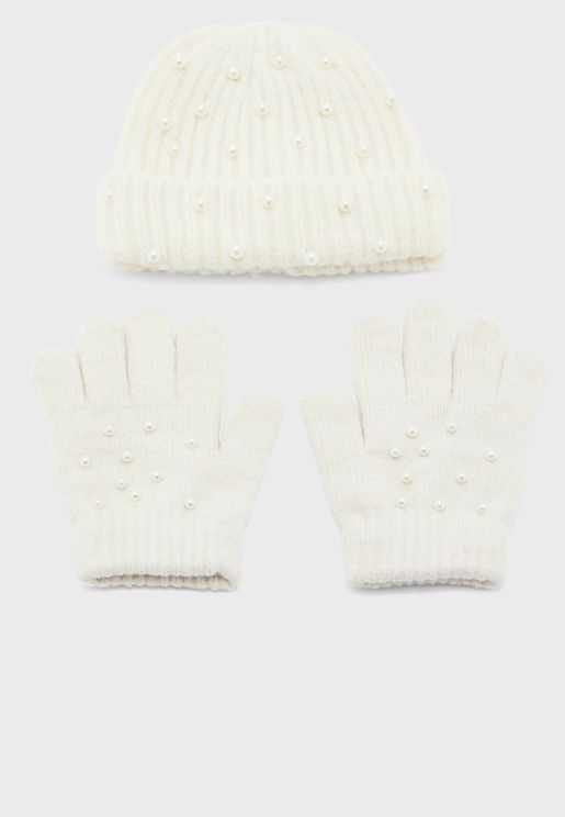Kids Knitted Beanie + Gloves Set