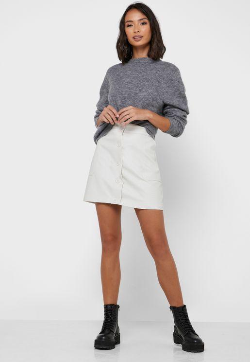 Button Down PU Mini Skirt