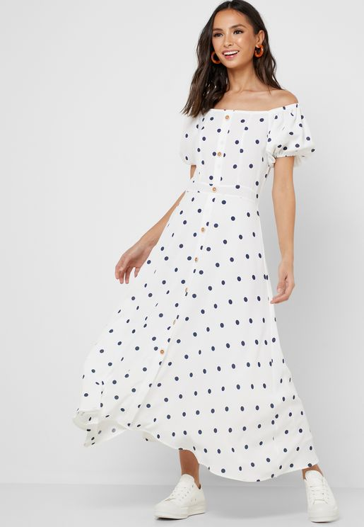 Polka Dot Button Down Maxi Dress