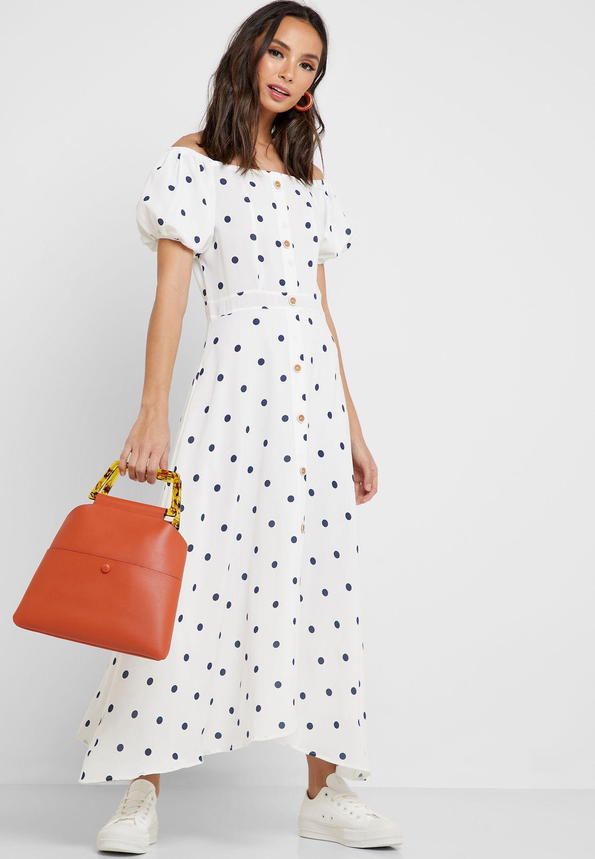 Polka Dot Button Down Maxi Dress