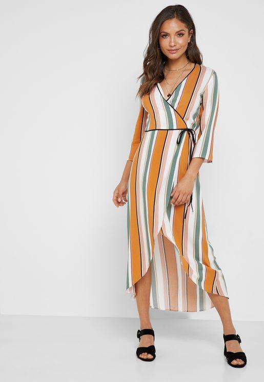 622eacb3f60 Stripe Wrap Belted Midi Dress