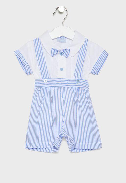 Infant Button Down Shirt + Dungaree Set