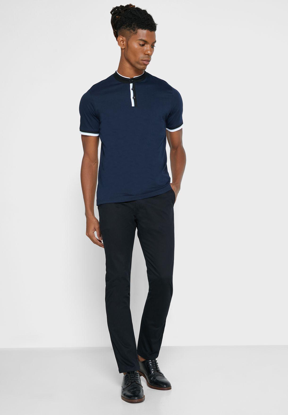 Stand Collar Polo Shirt