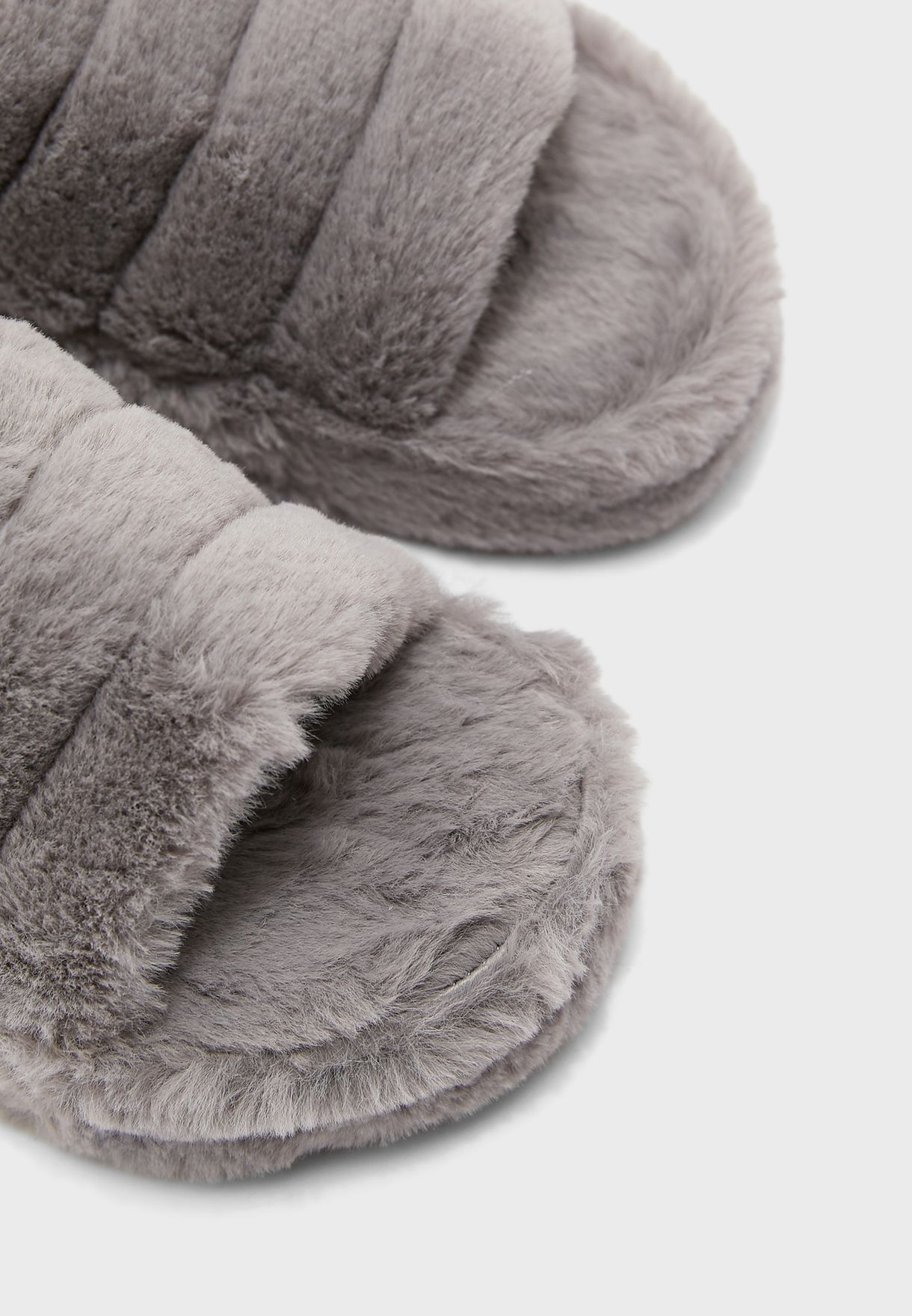 Furry Slingback House Slipper With Ribbon